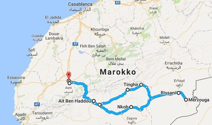 Route Wüstensafari Marokko