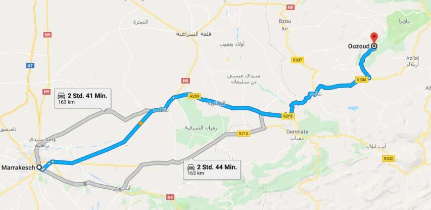 Wie kommt man von Marrakesch nach Ouzoud