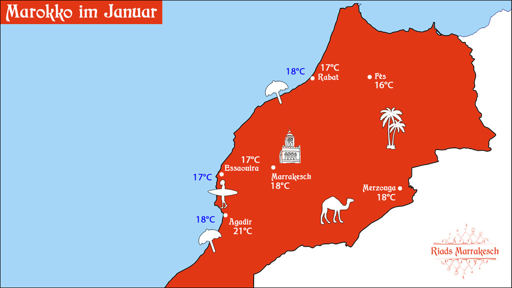Marokko im Januar Wetter