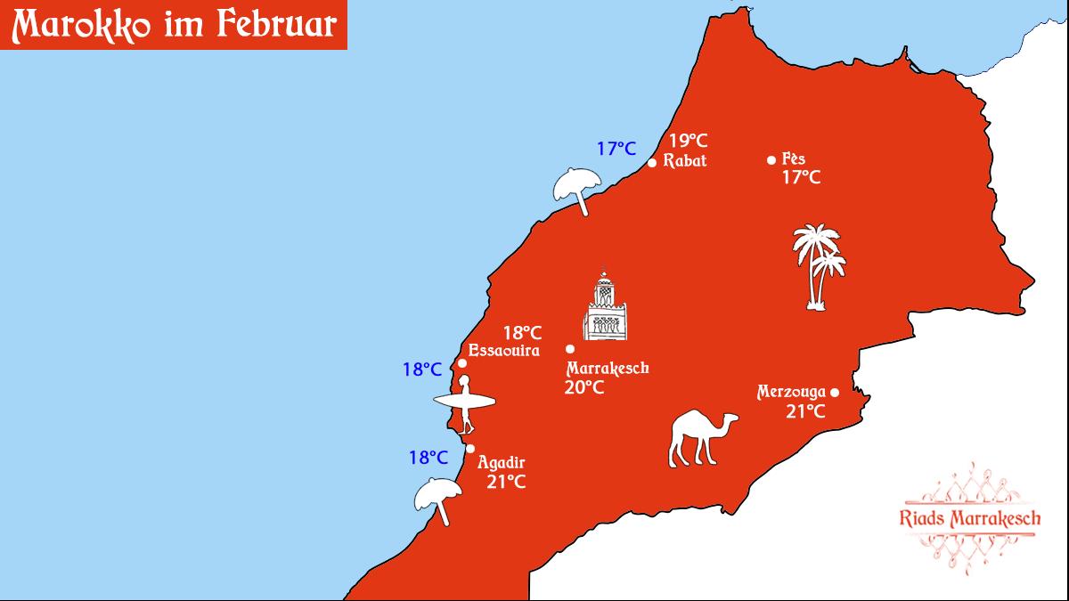 Karte mit Informationen zu Wetter in Marokko im Februar