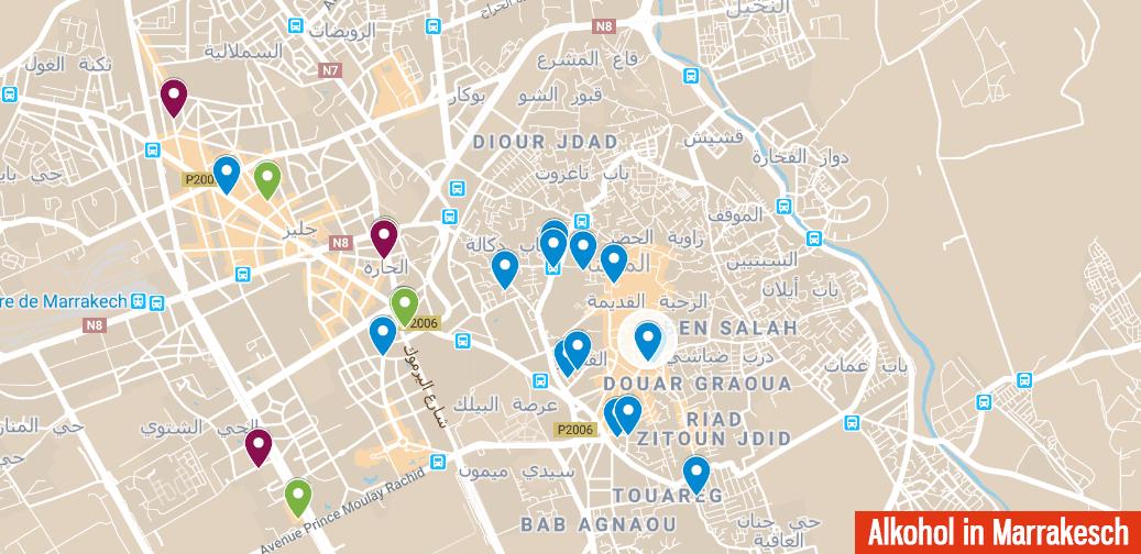 Karte mit Orten, an denen man in Marrakesch Alkohol kaufen
