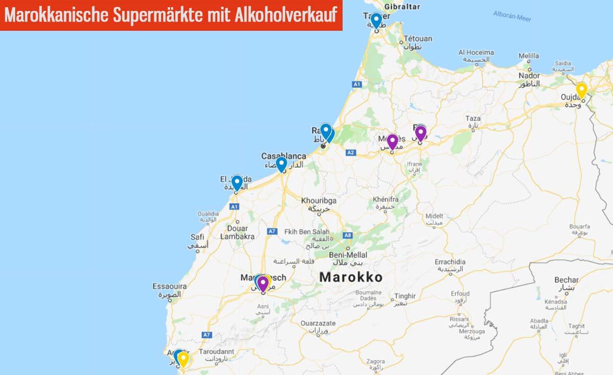 Karte mit Orten, in denen in Marokko Alkohol verkauft wird