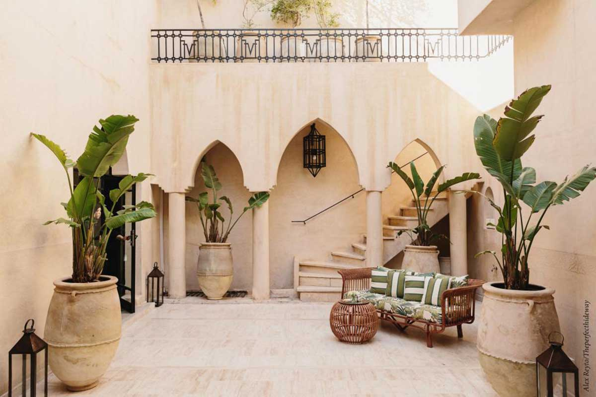 Innenhof im Riad Azzouz in Marrakesch beim Familien Urlaub