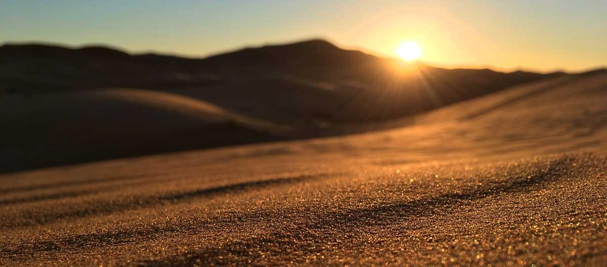 Sonnenaufgang in der Sandwüste (Sahara)
