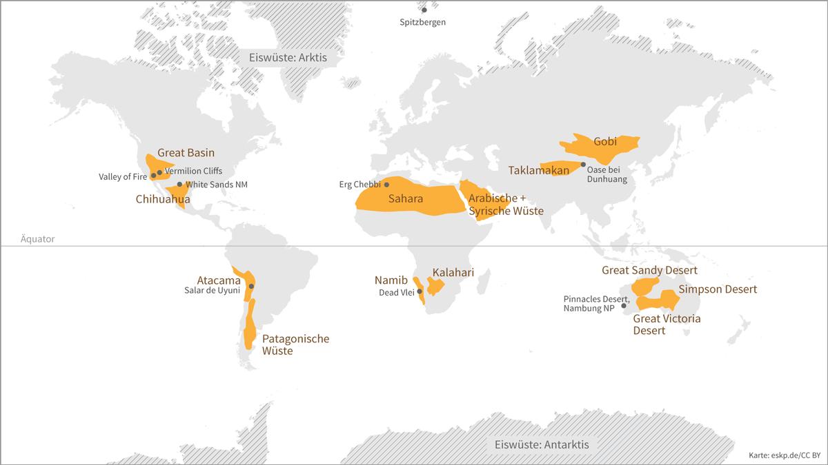 Verteilung der Wüsten auf der Erde