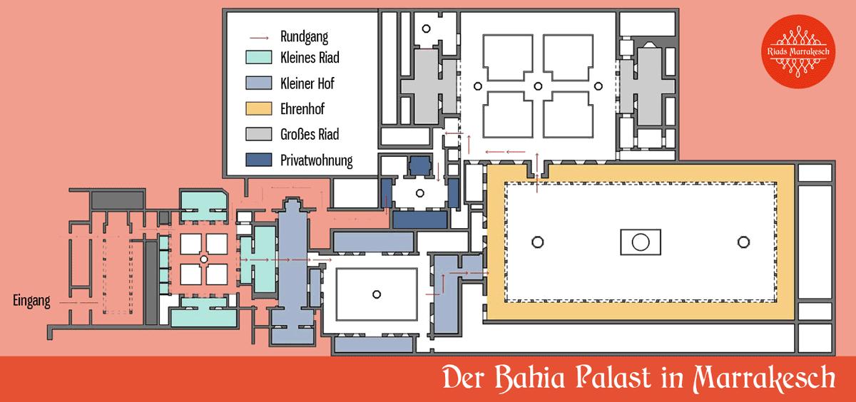 Grundriss vom Bahia Palast in Marrakesch