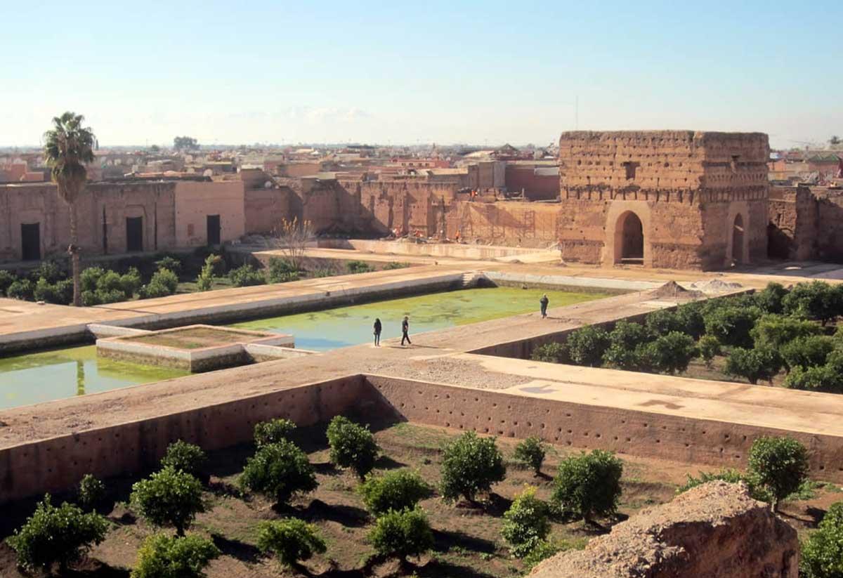 Der El Badi Palast in Marrakesch aus der Vogelperspektive