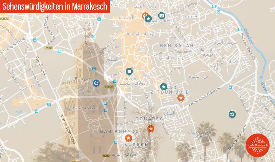 Marrakesch Karte mit Sehenswürdigkeiten