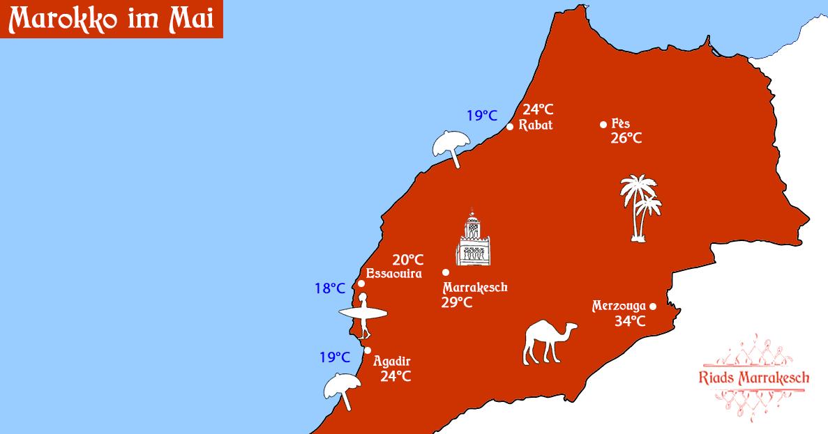 Wetter in Marokko im Mai mit Temperaturen für Agadir, Marrakesch, Essaouira, Fes, Rabat und Merzouga.