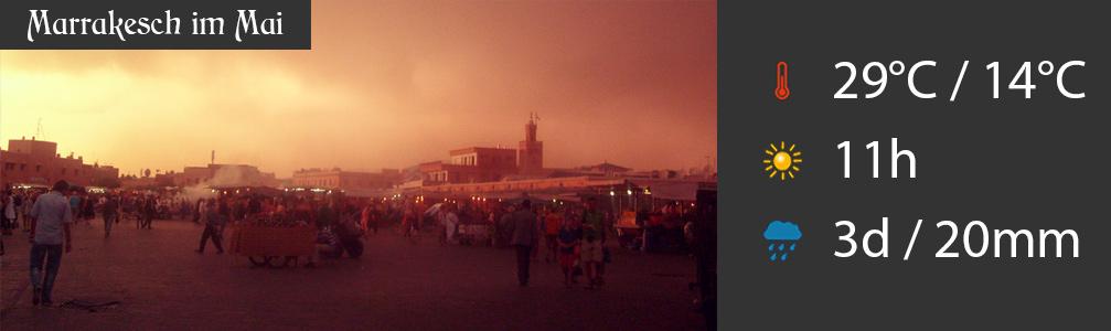 Wetter Mai in Marrakesch mit Höchst- und Tiefsttemperaturen sowie Niederschlag