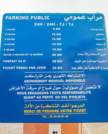Preise für das Parken in Marrakesch